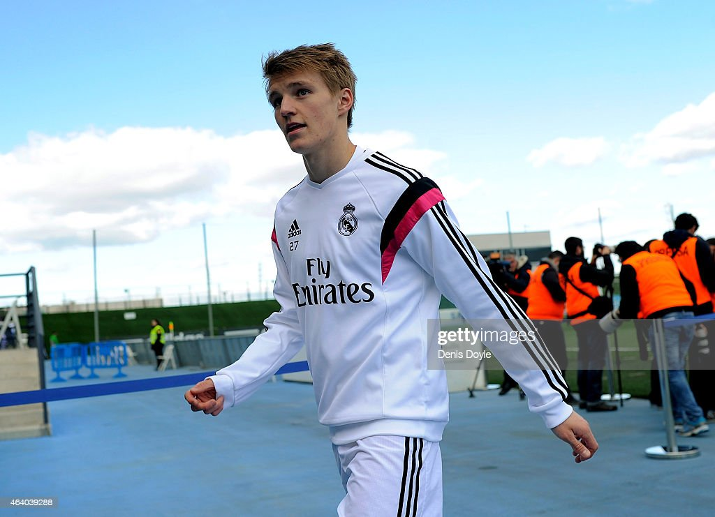 Martin Odegaard of Real Madrid Castilla looks on before the Segunda Division B match between Real Madrid Castilla v Barakaldo CF at estadio Alfredo Di Stefano on February 21, 2015 in Madrid, Spain.