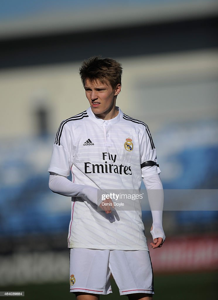 Martin Odegaard of Real Madrid Castilla looks on during the Segunda Division B match between Real Madrid Castilla v Barakaldo CF at estadio Alfredo Di Stefano on February 21, 2015 in Madrid, Spain.