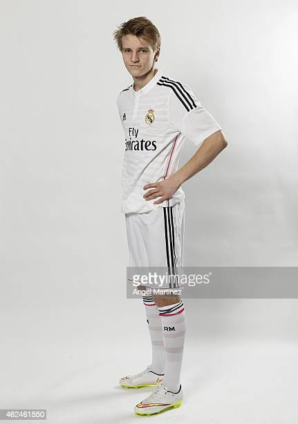 Martin Odegaard of Real Madrid Castilla poses during a portrait session at Ciudad Real Madrid on January 29 2015 in Madrid Spain