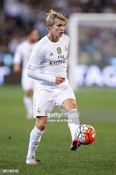 Martin Odegaard of Real Madrid CF in actions during the international friendly match between Real Madrid and AS Roma at Melbourne Cricket Ground on...