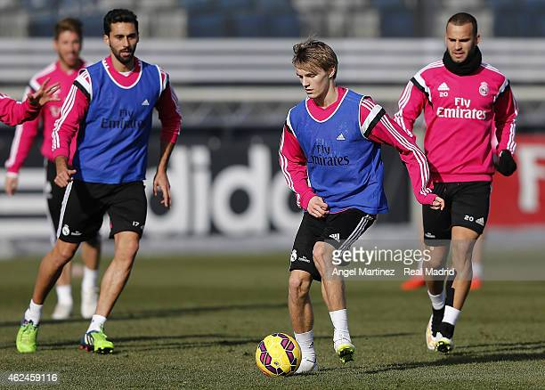 Martin Odegaard of Real Madrid in action during a training session at Valdebebas training ground on January 29 2015 in Madrid Spain