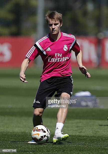 Martin Odegaard of Real Madrid in action during a training session at Valdebebas training ground on April 1 2015 in Madrid Spain