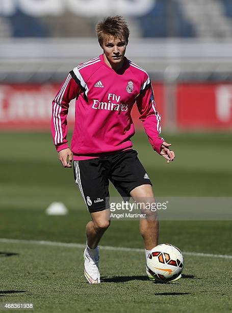 Martin Odegaard of Real Madrid in action during a training session at Valdebebas training ground on April 2 2015 in Madrid Spain