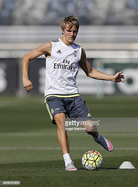 Martin Odegaard of Real Madrid in action during a training session at Valdebebas training ground on August 11 2015 in Madrid Spain