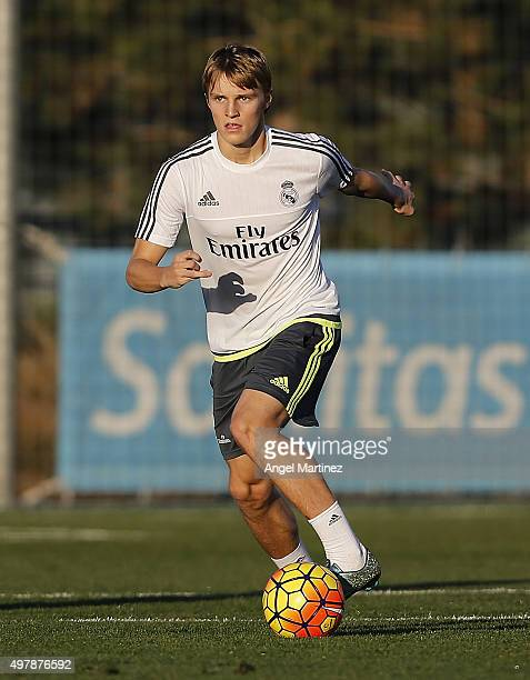 Martin Odegaard of Real Madrid in action during a training session at Valdebebas training ground on November 19 2015 in Madrid Spain