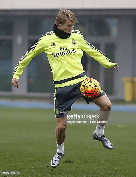 Martin Odegaard of Real Madrid in action during a training session at Valdebebas training ground on December 29 2015 in Madrid Spain