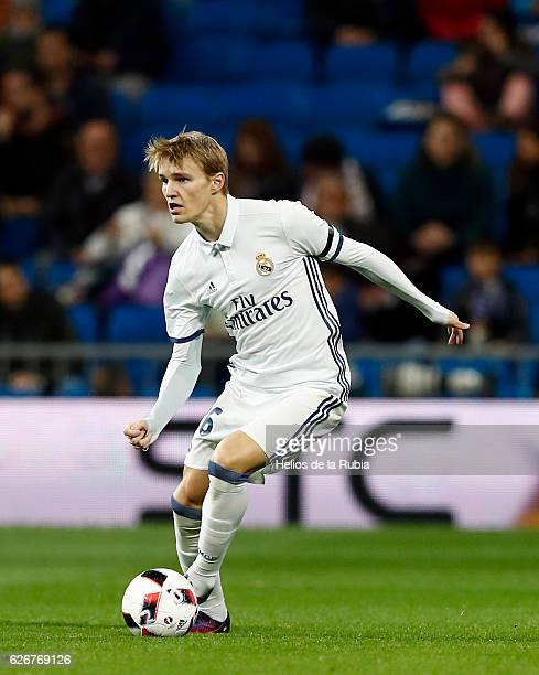 Martin Odegaard of Real Madrid in action during the Copa del Rey round of 32 second leg match between Real Madrid CF and Cultural y Deportiva Leonesa...