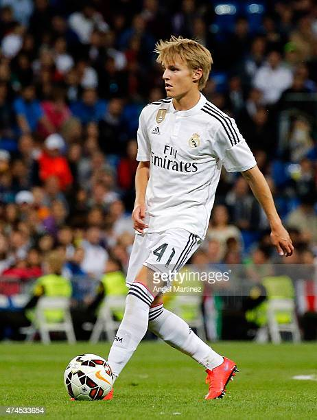 Martin Odegaard of Real Madrid in action during the La Liga match between Real Madrid CF and Getafe CF at Estadio Santiago Bernabeu on May 23 2015 in...