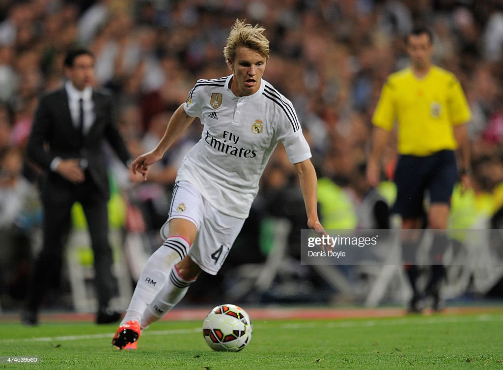 Martin Odegaard of Real Madrid in action during the La Liga match between Real Madrid CF and Getafe CF at Estadio Santiago Bernabeu on May 23, 2015 in Madrid, Spain.