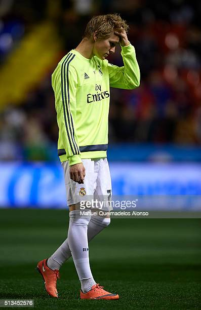 Martin Odegaard of Real Madrid reacts prior to the La Liga match between Levante UD and Real Madrid at Ciutat de Valencia on March 02 2016 in...