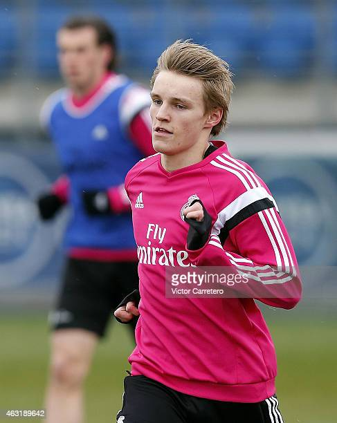 Martin Odegaard of Real Madrid warms up during a training session at Valdebebas training ground on February 11 2015 in Madrid Spain