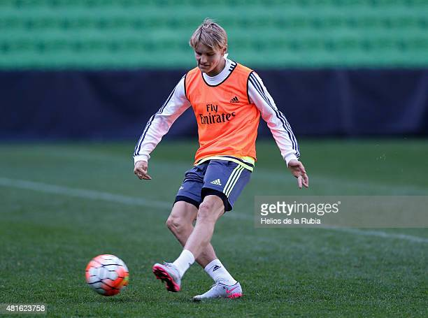 Martin Odegaard of Real Madrid warms up during a training session at AAMI Park training ground on July 23 2015 in Melbourne Australia