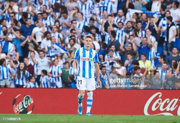Martin Odegaard of Real Sociedad celebrates after scoring goal during the Liga match between Real Sociedad and Club Atletico de Madrid at Estadio...