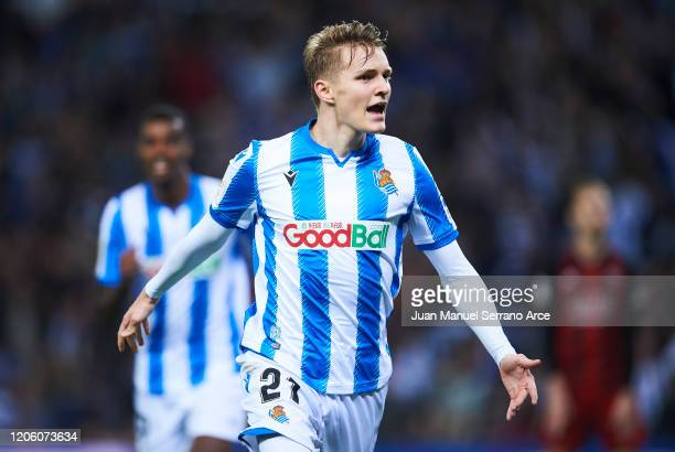 Martin Odegaard of Real Sociedad celebrates after scoring his team's second goal during the Copa del Rey Semi-Final 1st Leg match between Real...