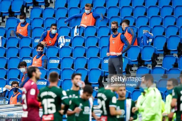 Martin Odegaard of Real Sociedad, David Zurutuza of Real Sociedad during the La Liga Santander match between Real Sociedad v Espanyol at the Estadio...