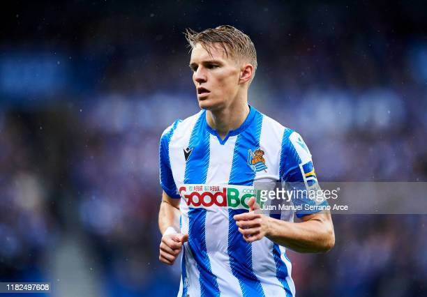 Martin Odegaard of Real Sociedad in action during the Liga match between Real Sociedad and Real Betis Balompie at Estadio Anoeta on October 20 2019...