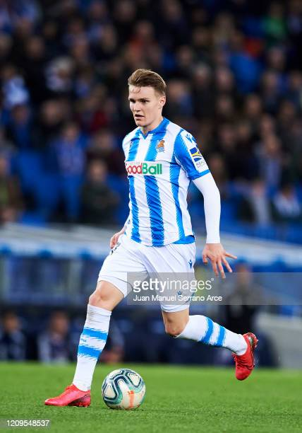 Martin Odegaard of Real Sociedad in action during the Liga match between Real Sociedad and Real Valladolid CF at Estadio Anoeta on February 28 2020...