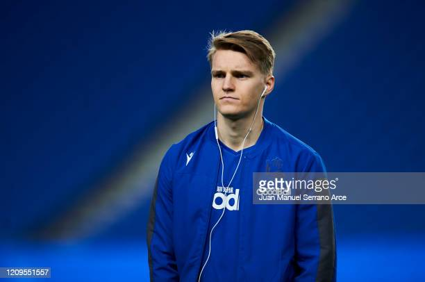 Martin Odegaard of Real Sociedad looks on prior to the start the La Liga match between Real Sociedad and Real Valladolid CF at Estadio Anoeta on...