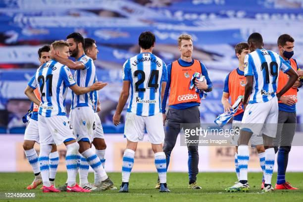 Martin Odegaard of Real Sociedad, Mikel Merino of Real Sociedad, Robin Le Normand of Real Sociedad, David Zurutuza of Real Sociedad, Aihen Munoz of...