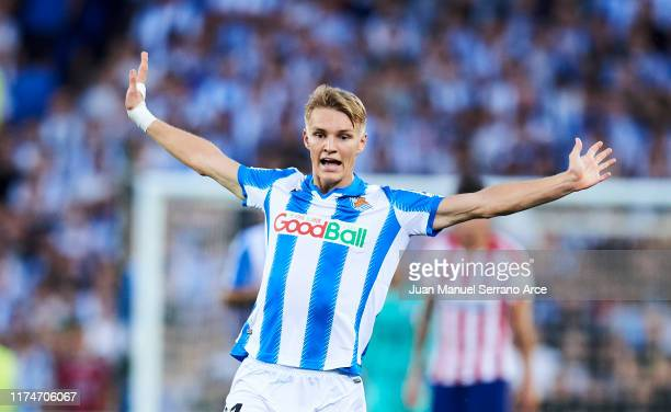 Martin Odegaard of Real Sociedad reacts during the Liga match between Real Sociedad and Club Atletico de Madrid at Estadio Reale Arena on September...