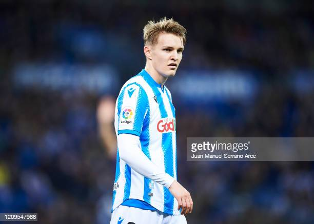 Martin Odegaard of Real Sociedad reacts during the Liga match between Real Sociedad and Real Valladolid CF at Estadio Anoeta on February 28 2020 in...