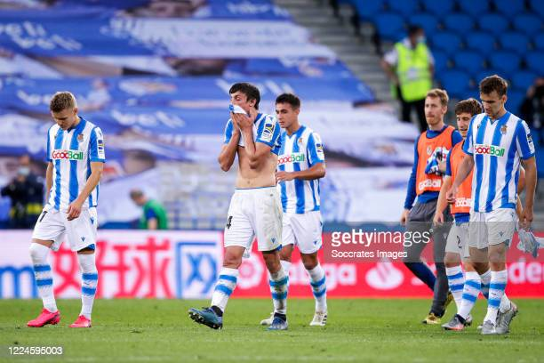 Martin Odegaard of Real Sociedad, Robin Le Normand of Real Sociedad, Zubimendi of Real Sociedad, David Zurutuza of Real Sociedad, Diego Llorente of...