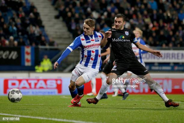 Martin Odegaard of SC Heerenveen Bram van Polen of PEC Zwolle during the Dutch Eredivisie match between SC Heerenveen v PEC Zwolle at the Abe Lenstra...