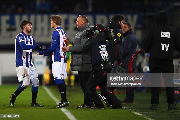 Martin Odegaard of sc Heerenveen comes on as a substitue for Arber Zeneli during the Dutch Eredivisie match between SC Heerenveen and ADO Den Haag...