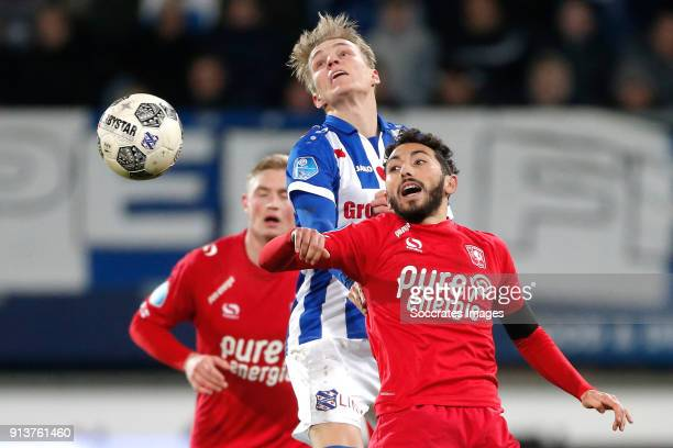 Martin Odegaard of SC Heerenveen Cristian Cuevas of FC Twente during the Dutch Eredivisie match between SC Heerenveen v Fc Twente at the Abe Lenstra...