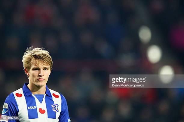 Martin Odegaard of sc Heerenveen in action during the Dutch Eredivisie match between PSV Eindhoven and SC Heerenveen held at Philips Stadion on...