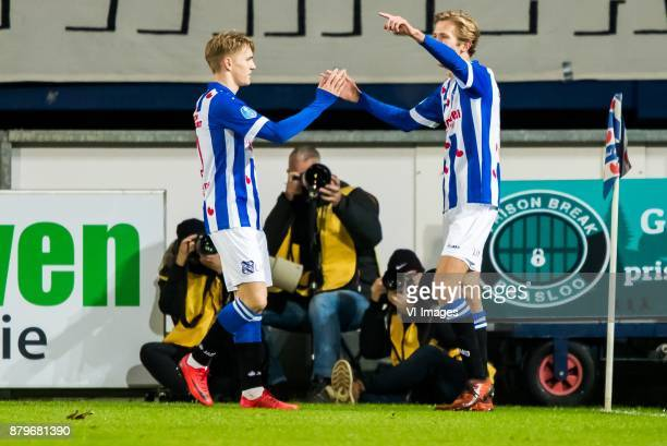 Martin Odegaard of sc Heerenveen Michel Vlap of sc Heerenveen during the Dutch Eredivisie match between sc Heerenveen and PEC Zwolle at Abe Lenstra...