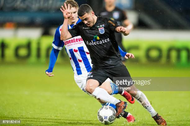 Martin Odegaard of sc Heerenveen Mustafa Saymak of PEC Zwolle during the Dutch Eredivisie match between sc Heerenveen and PEC Zwolle at Abe Lenstra...