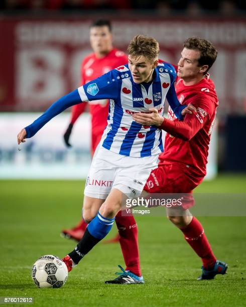 Martin Odegaard of sc Heerenveen Peet Bijen of FC Twente during the Dutch Eredivisie match between FC Twente Enschede and sc Heerenveen at the...