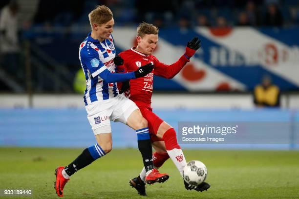 Martin Odegaard of SC Heerenveen Rico Strieder of FC Utrecht during the Dutch Eredivisie match between SC Heerenveen v FC Utrecht at the Abe Lenstra...