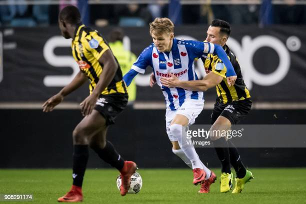 Martin Odegaard of sc Heerenveen Thomas Bruns of Vitesse during the Dutch Eredivisie match between Vitesse Arnhem and sc Heerenveen at Gelredome on...