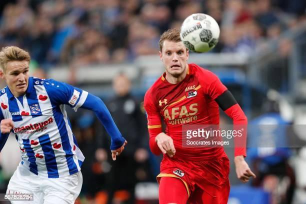 *Martin Odegaard* of SC Heerenveen *Thomas Ouwejan* of AZ Alkmaar during the Dutch Eredivisie match between SC Heerenveen v AZ Alkmaar at the Abe...