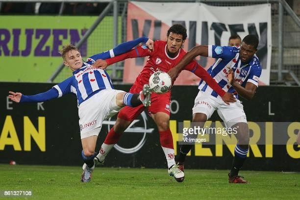 Martin Odegaard of sc Heerenveen Yassin Ayoub of FC Utrecht Denzel Dumfries of sc Heerenveen during the Dutch Eredivisie match between FC Utrecht and...
