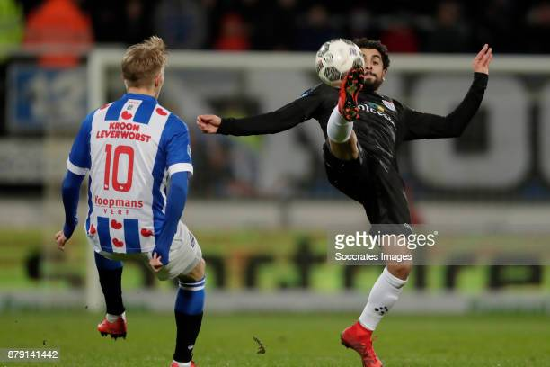 Martin Odegaard of SC Heerenveen Youness Mokhtar of PEC Zwolle during the Dutch Eredivisie match between SC Heerenveen v PEC Zwolle at the Abe...