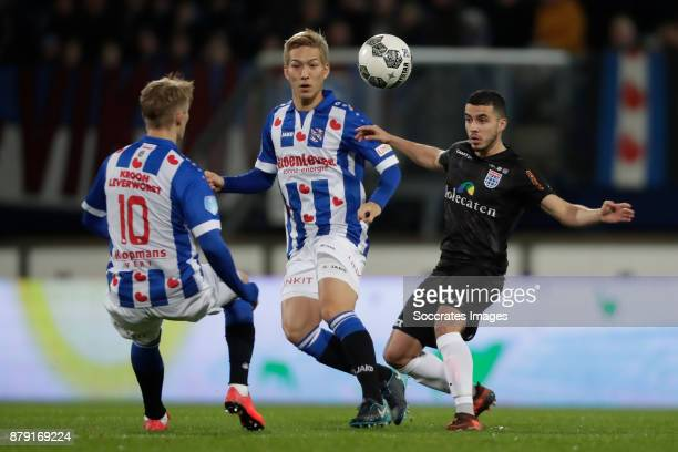Martin Odegaard of SC Heerenveen Yuki Kobayashi of SC Heerenveen Mustafa Saymak of PEC Zwolle during the Dutch Eredivisie match between SC Heerenveen...