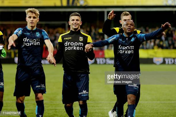 Martin Odegaard of Vitesse Bryan Linssen of Vitesse Thulani Serero of Vitesse during the Dutch Eredivisie match between VVVvVenlo Vitesse at the...
