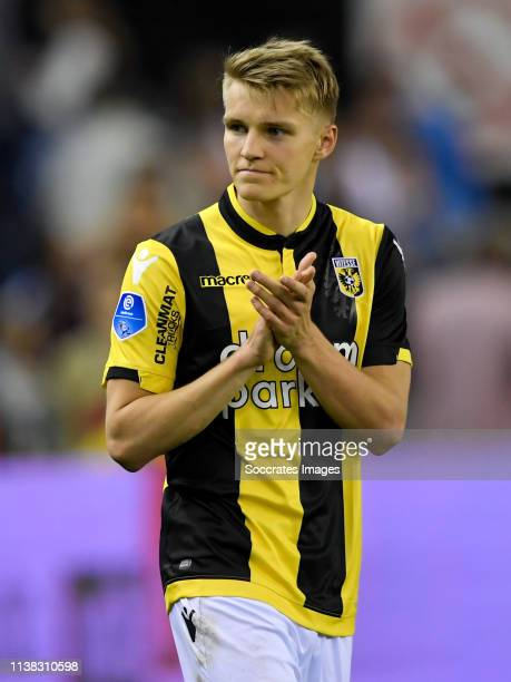 Martin Odegaard of Vitesse celebrates the victory during the Dutch Eredivisie match between Vitesse v PEC Zwolle at the GelreDome on April 20 2019 in...