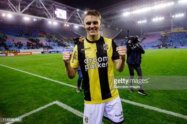 Martin Odegaard of Vitesse celebrates the victory during the Dutch Eredivisie match between Vitesse v FC Groningen at the GelreDome on May 21 2019 in...