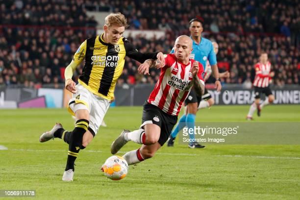 Martin Odegaard of Vitesse Jose Angelino of PSV during the Dutch Eredivisie match between PSV v Vitesse at the Philips Stadium on November 3 2018 in...