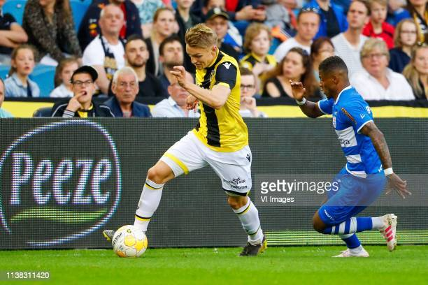 Martin Odegaard of Vitesse Kenneth Paal of PEC Zwolle during the Dutch Eredivisie match between Vitesse Arnhem and PEC Zwolle at Gelredome on April...