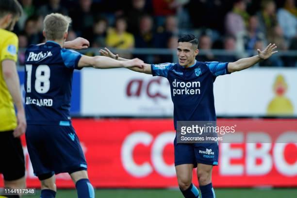 Martin Odegaard of Vitesse Navarone Foor of Vitesse during the Dutch Eredivisie match between VVVvVenlo Vitesse at the Seacon Stadium De Koel on May...