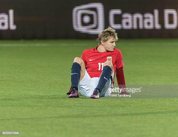 Martin Oedegaard of Norway after U21UEFA European Championship PlayOff Norway v Serbia at Marienlyst Stadion on November 15 2016 in Drammen Norway