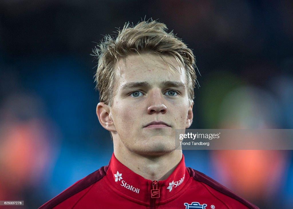 Martin Oedegaard of Norway before U-21-UEFA European Championship Play-Off Norway v Serbia at Marienlyst Stadion on November 15, 2016 in Drammen, Norway.
