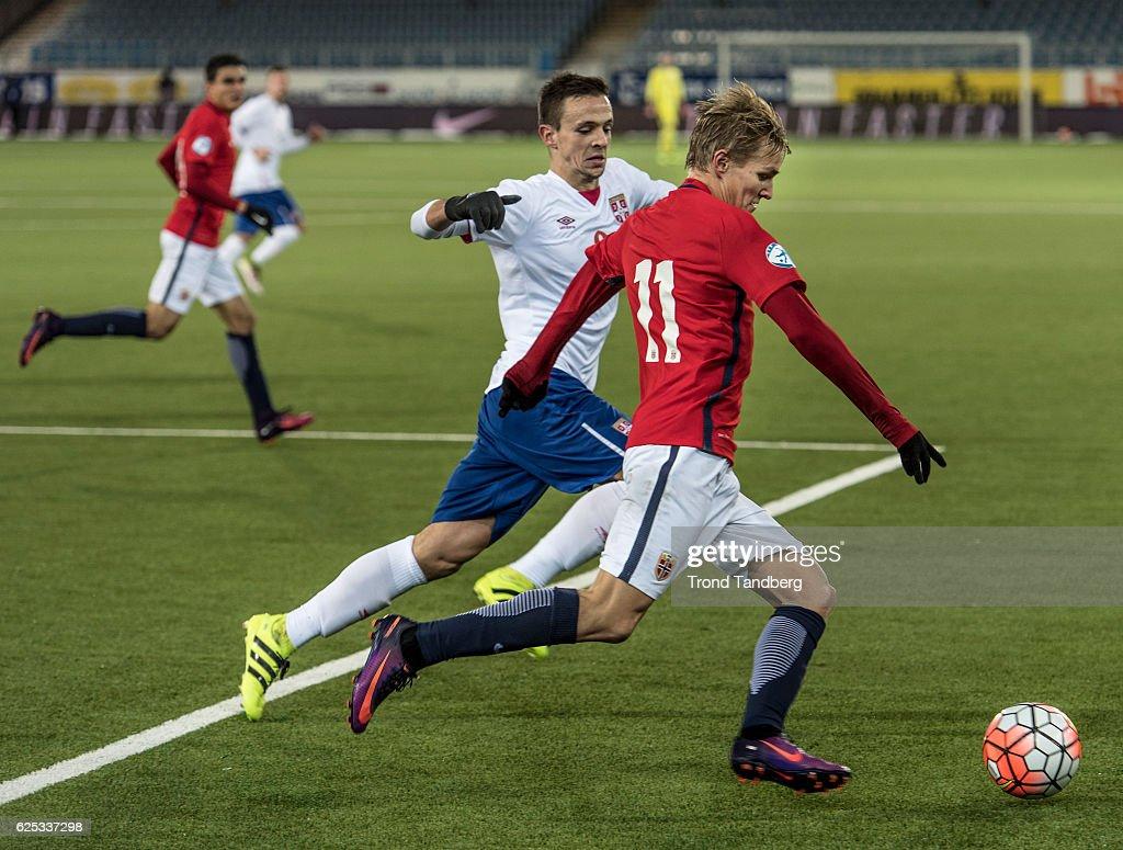 Martin Oedegaard of Norway during U-21-UEFA European Championship Play-Off Norway v Serbia at Marienlyst Stadion on November 15, 2016 in Drammen, Norway.