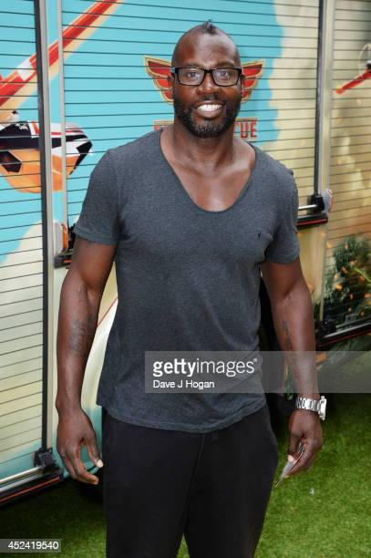 Martin Offiah attends a gala screening of Planes 2 Fire and Rescue at The Odeon Leicester Square on July 20 2014 in London England