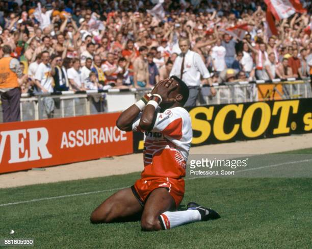 Martin Offiah of Wigan after scoring a Try against Leeds during the Silk Cut Rugby League Challenge Cup final at Wembley Stadium in London on 30th...